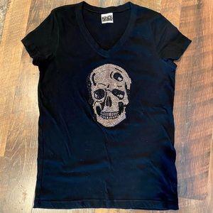 KINGS OF COLE Jeweled Skull V-Neck T Shirt